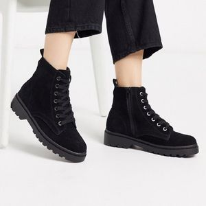 Topshop Lace-Up Leather Boots